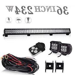 DOT Approved 36 Inch 234W Led Light Bar + 4 Inch 18W Pods Cu