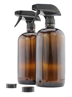 32-Ounce Amber Glass Spray Bottles w/ Heavy Duty Mist & Stre