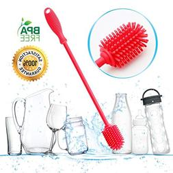 Bottle Brush Silicone Long Sponge Kitchen Cleaner Tool Handl