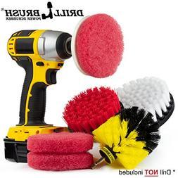 Drill Brush Power Scrubber Attachments - Bathroom Kitchen Cl