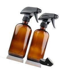 Empty Amber Glass Spray Bottles | 2 Pack 16 Oz Refillable Sp