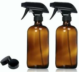 Empty Amber Glass Spray Bottles with Labels  - 16oz Refillab