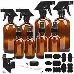 Glass Spray Bottle, ESARORA Amber Glass Spray Bottle Set - E
