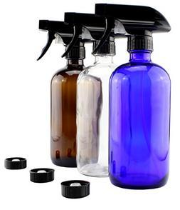 16oz Glass Bottles w/Heavy Duty Sprayers - Three Pack Bundle
