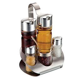 VDOMUS Glass Cruet Set with Stand Oil Vinegar Dispenser Salt