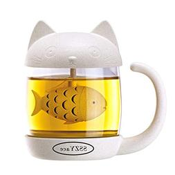 8.5oz Glass Teacup Cute Cat Tea Cup with Fish Filter Creativ