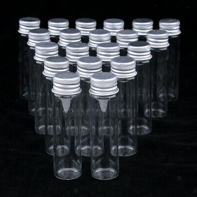 20x Round Jars Refillable Glass Bottle fo Beauty Product Hom