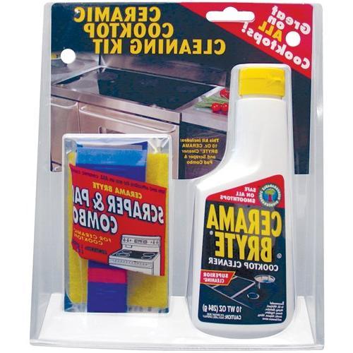 Cerama Bryte Cleaning Kit 10 oz. Bottle of Cerama 1 Cleaning Pad 1 Scraper