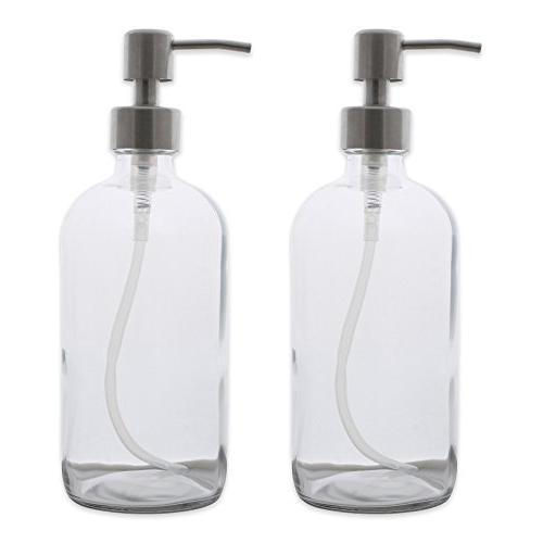 clear glass stainless steel pump