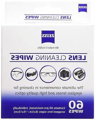moistened lens cleaning wipes