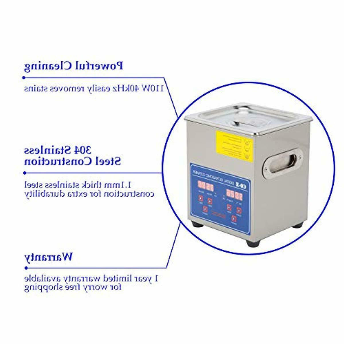 Professional Ultrasonic Cleaner 2L with Timer&Heater for Jewelry Glasses