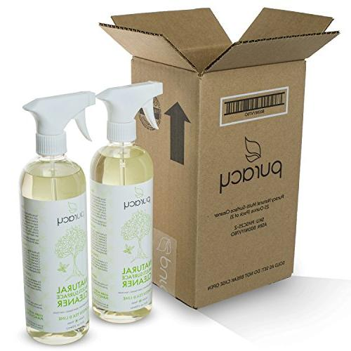 Puracy Natural All Cleaner, Streak-Free Household Spray, Nontoxic, & Lime, 25 Ounce,