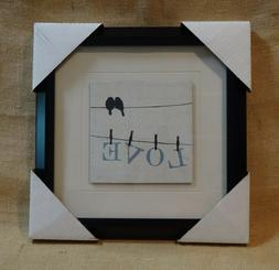 Love Birds on Wire Clothes Line Pins Art Print Home Decor Fr