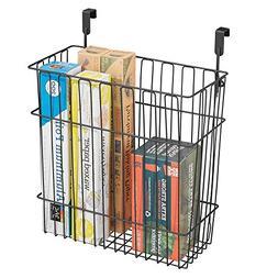 mDesign Hanging Over Door Kitchen Storage Organizer Basket/T