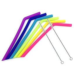 Reusable Silicone Bent Straws,8 Pack Flexible Straws with Cl