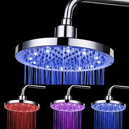 XIHAA LED Top Spray Shower, 3 Colors Temperature Controlled,