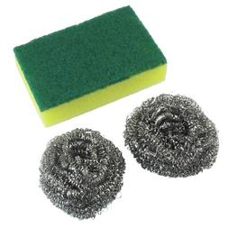 Steel Wire Cleaning Ball Dish Scrub Pad Set 3 in1 Yellow Gre