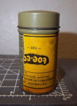 Vintage FOG GONE glass cleaner rag tin, paper label partiall
