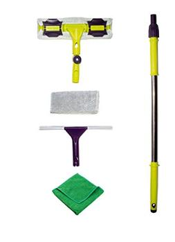 Premium Window Squeegee Kit with Extension Pole and Microfib